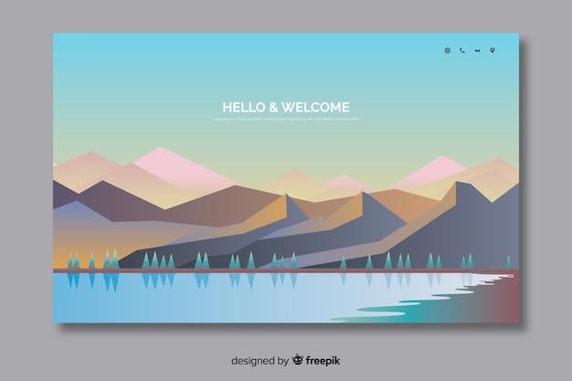 Willkommens-landingpage-vorlage mit landschaft