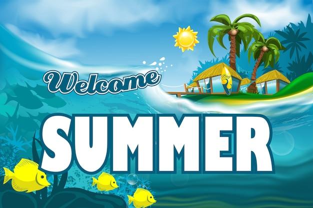 Willkommens-sommerfahne auf inselhintergrund