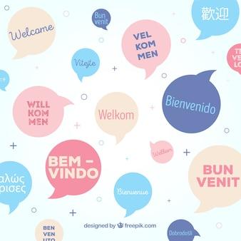 Willkommensmuster in verschiedenen sprachen