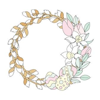 Willow wreath ostern-vektor-illustrations-satz
