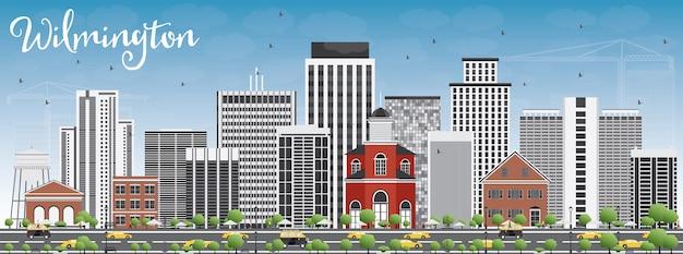 Wilmington skyline mit grauen gebäuden und blauem himmel.