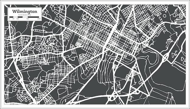 Wilmington usa stadtplan im retro-stil. übersichtskarte. vektor-illustration.