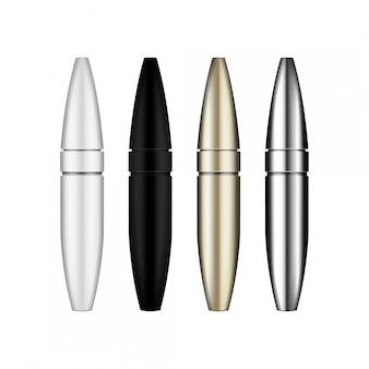Wimperntuschenbürste. leere, silberne, weiße, goldene, schwarze mascara-röhren. abbildung des kosmetikproduktbehälters