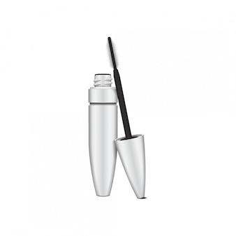 Wimperntuschenbürste. leere, weiße wimperntusche offenes rohr mit pinsel. abbildung des kosmetikproduktbehälters. auf weißem hintergrund