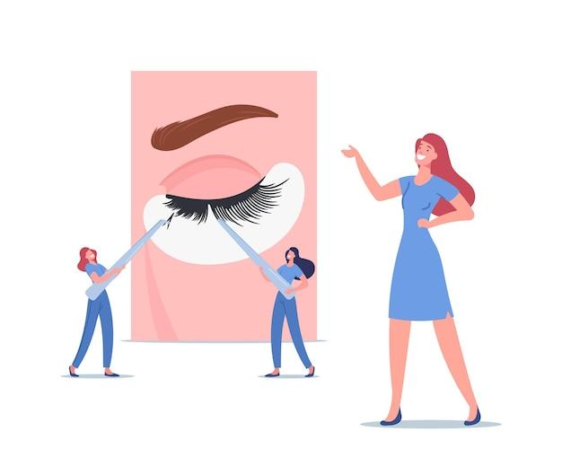 Wimpernverlängerung spa kosmetik pflege prozesskonzept. winzige meister weibliche charaktere mit riesigen pinzetten präsentieren schönheitsverfahren, die längere wimpern der frau machen. cartoon-menschen-vektor-illustration