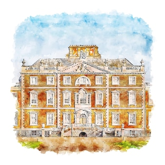 Wimpole hall georgian aquarell skizze hand gezeichnete illustration