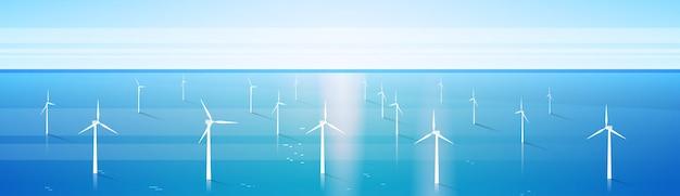 Wind-turbinen-energie-erneuerbarer wasser-stations-seehintergrund