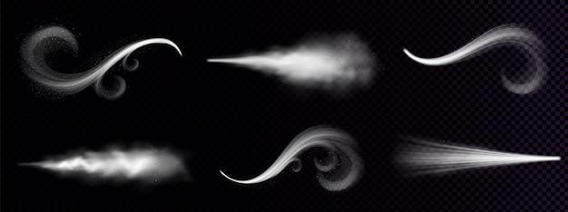 Wind weht oder staub sprüht, verzierter weißer rauch, pulver oder wassertropfen. fließnebel, rauchstrom, dampfende chemische oder kosmetische produktdämpfe, dunst. realistischer 3d isolierter clipart-satz