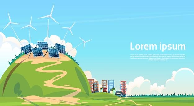 Windkraftanlage sonnenenergie panel erneuerbare station