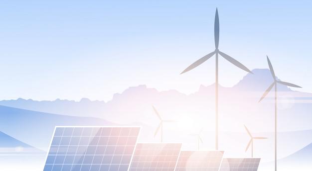 Windkraftanlage-sonnenkollektor-alternative energiequelle-natur-hintergrund-fahne