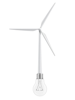 Windkraftanlage und glühlampe verbunden.