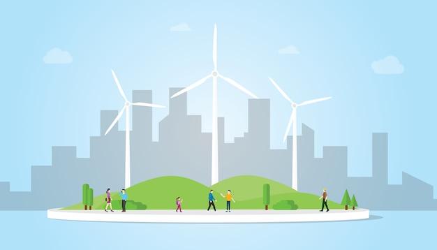 Windkraftanlagekonzept auf der stadt für energieenergie mit moderner flacher art mit blauem hintergrund