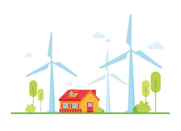 Windkraftanlagen für die ökologische stromversorgung mit einem umweltfreundlichen haus. grüne natur