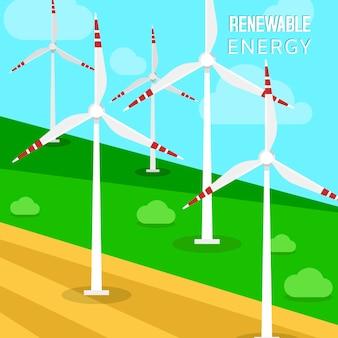 Windkraftanlagen und windmühlen. eine landschaft mit grünen wiesen und turbinen, die die kinetische energie umwandelt