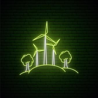 Windkraftanlagen zur stromerzeugung im neonstil.