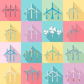 Windkraftanlagenikonen eingestellt. flache reihe von windkraftanlagen icons