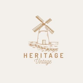 Windmühle bäckerei logo vintage