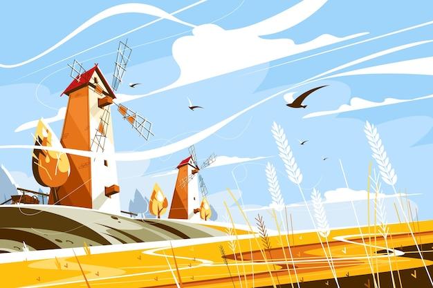 Windmühle in der nähe von weizenfeld-vektorillustrationsgebäude mit segeln oder flügeln, die sich im wind drehen