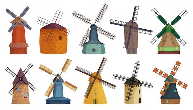 Windmühle isolierte karikatursatzikone.