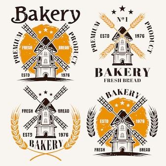 Windmühle mit farbigen emblemen, etiketten, abzeichen oder logos für bäckereivektorillustration
