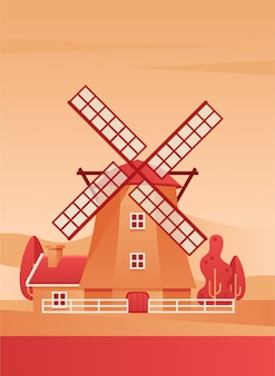 Windmühle poster flache vektor-illustration