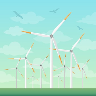Windmühlen auf grüner feldvektorillustration