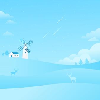 Windmühlen-blauer himmel-landschaftsfallender stern-natur-hintergrund