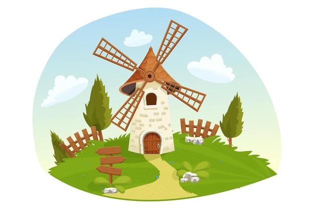 Windmühlen-feenlandschaft mit holzzaungrasbäumen, die im cartoon-stil bewirtschaften