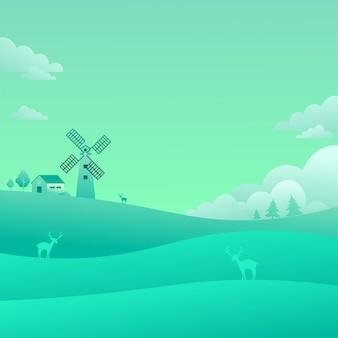 Windmühlen-grünfeld-landschaftslandschaftsnatur-hintergrund-flache art-vektor-illustration