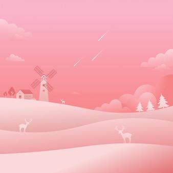 Windmühlen-rosa-landschaftslandschaftsfallender stern-natur-hintergrund