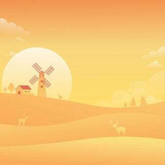 Windmühlen-sonnenuntergang-himmel-landschaftsnatur-hintergrund