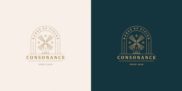 Windmühlen symbol vektor logo emblem design vorlage illustration einfache minimale lineare stil
