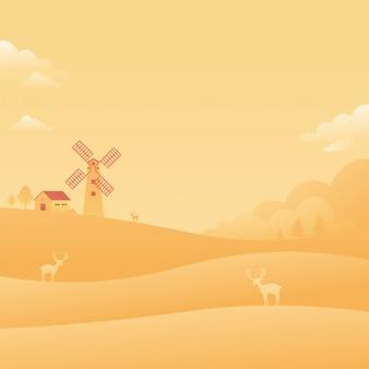 Windmühlen-warmer himmel-landschaftslandschaftsfallender stern-natur-hintergrund