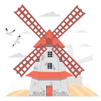 Windmühlenkonzeptillustration