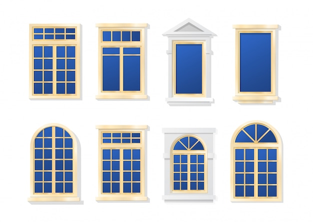 Windows flat cartoon set isoliert