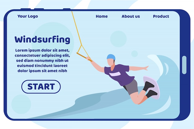 Windsurfing design landing page auf dem mobilen bildschirm