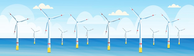 Windturbinen reinigen alternative energiequelle erneuerbare wasserstation konzept seestück hintergrund horizontale banner