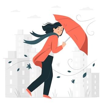 Windy day konzept illustration