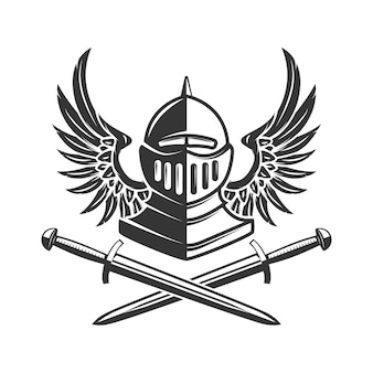 Winged knight helm mit gekreuzten schwertern. element für plakat, emblem, zeichen, banner. illustration