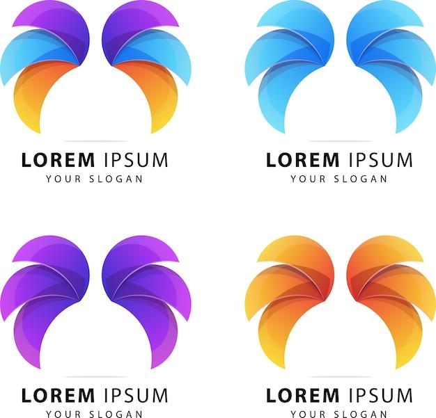 Wings abstrakte logo-vorlage premium