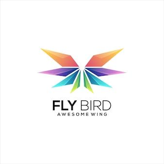 Wings logo bunte farbverlauf abstrakt