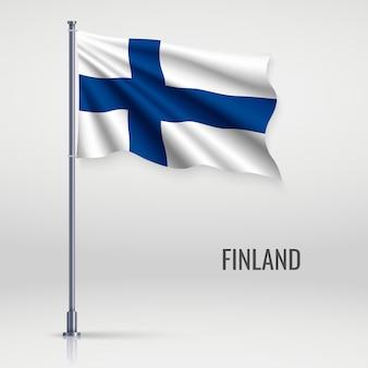 Winkende flagge am fahnenmast.