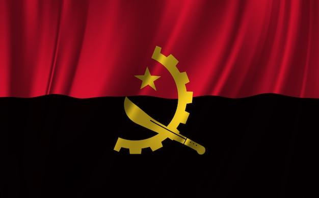 Winkende flagge angolas. winken angola flagge abstrakten hintergrund