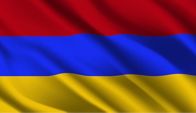 Winkende flagge armeniens. winkender abstrakter hintergrund der armenienflagge