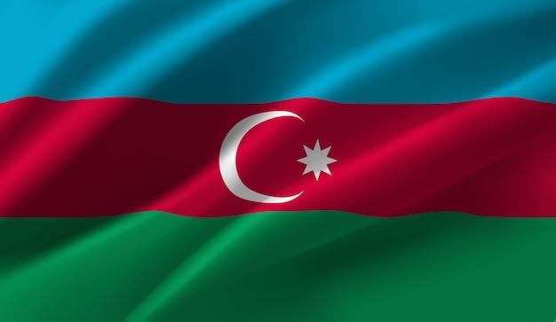 Winkende flagge aserbaidschans. winken des abstrakten hintergrunds der aserbaidschanischen flagge
