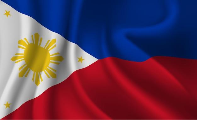 Winkende flagge der philippinen. abstrakter hintergrund der wehenden philippinenflagge