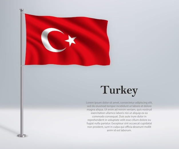 Winkende flagge der türkei auf fahnenmast