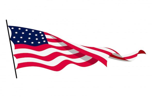 Winkende flagge der vereinigten staaten von amerika. illustration der gewellten amerikanischen flagge. nationales symbol, amerikanische flagge auf weißem hintergrund - illustration