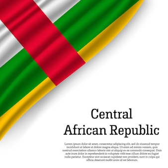 Winkende flagge der zentralafrikanischen republik auf weiß