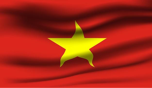 Winkende flagge des vietnam. abstrakter hintergrund der wehenden vietnam-flagge